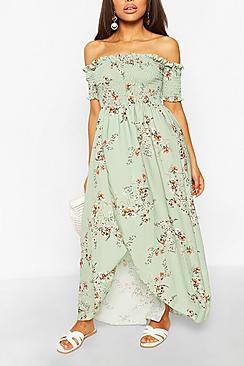 Petite Floral Shirred Wrap Front Maxi Dress