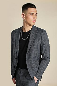 Slim Grey Check Single Breasted Suit Jacket
