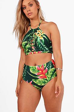 Plus  Tropical Print Lace Up High Waist Bikini
