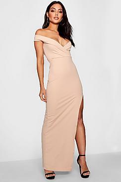 Wrap Off The Shoulder Maxi Bridesmaid Dress