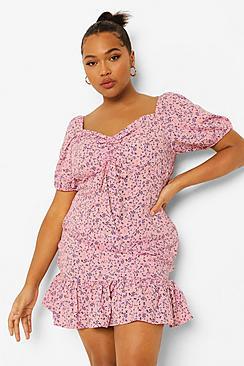 Plus Ditsy Floral Frill Hem Mini Dress