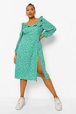 Plus Floral Print Square Neck Midi Dress