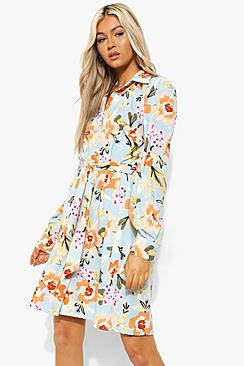 Tall Woven Floral Print Tie Waist Shirt Dress