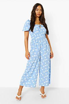 Polka Tie Front Puff Sleeve Culotte Jumpsuit