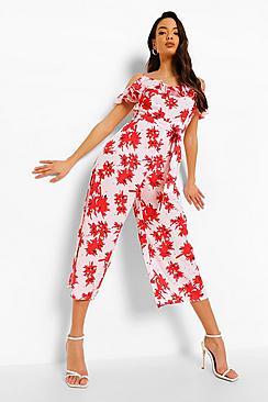 Frill Cold Shoulder Floral Belted Jumpsuit
