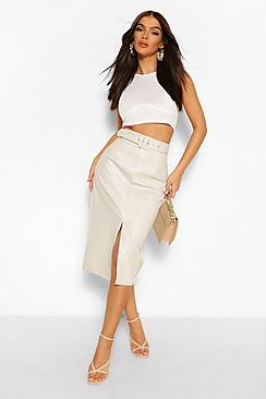 Leather Look Belted Long Line Midi Skirt