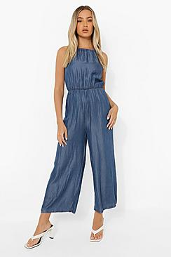 High Neck Denim Culotte Jumpsuit