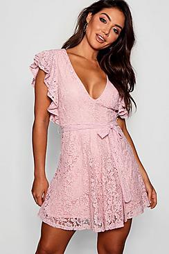 Lace Ruffle Sleeve Skater Dress