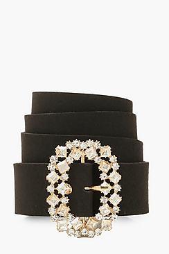 Oval Diamante Buckle Belt