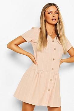 Linen Stripe Button Detail Smock Dress