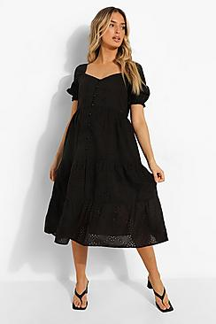 Maternity Broderie Button Front Midi Dress