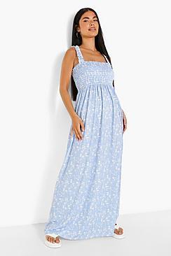 Petite Floral Shirred Ruffle Strap Maxi Dress