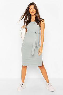 Maternity Ribbed Tie Midi Dress