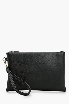 Cross Hatch Zip Top Clutch Bag