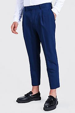 Slim Crop Pleat Front Tailored Trouser