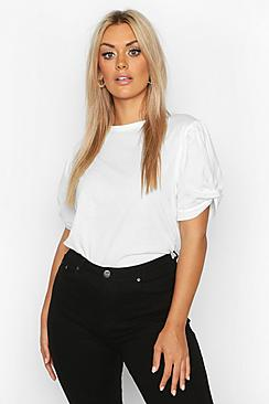 Plus Ruched Knot Puff Sleeve T-Shirt