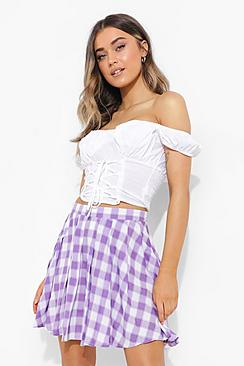 Check Woven Pleated Tennis Skirt