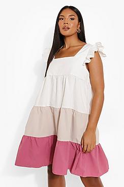 Plus Colour Block Tiered Smock Dress
