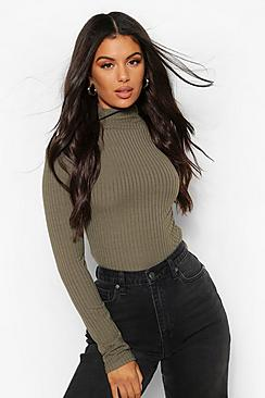 Turtle Neck Knitted Ribbed Top