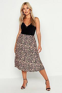 Plus Leopard Print Pleated Midi Skirt