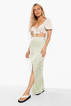 Ditsy Floral Cut Out Satin Midi Skirt