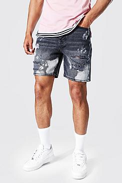 Relaxed Fit Rigid Bleached Denim Short