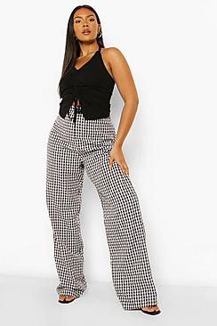 Plus Gingham Ruffle Top And Trouser Co-ord