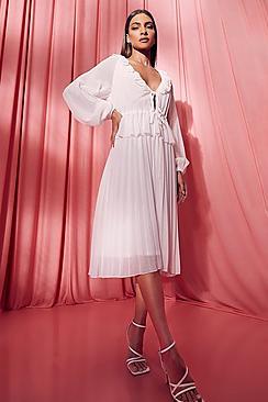 Pleated Long Sleeve Ruffle Midi Smock Dress