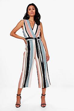 Striped Tie Belt Culotte Jumpsuit