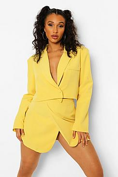 Wrap Front Tailored Cropped Blazer