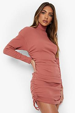 Long Sleeve Rouched Roll Neck Mini Dress