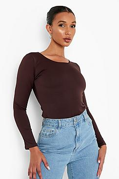 Se  Double Layer Long Sleeve Bodysuit ved Boohoo.com