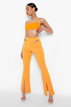 Cut Out Waist Detail Crepe Flared Trousers