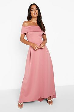 Off The Shoulder Dip Hem Maxi Dress