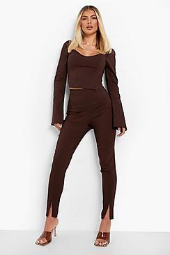 Seam Split Front Skinny Stretch Trousers