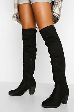 Block Heel Chunky Stretch Over The Knee Boot