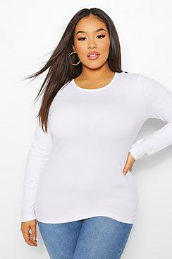 Plus Basic Scoop Neck Long Sleeve T-Shirt