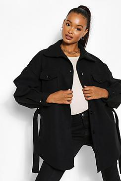 Tall Wool Belted Shacket Coat