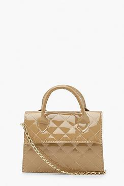 Patent Quilt Structured Cross Body Bag