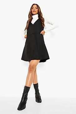 V Neck Strappy Swing Pinafore Dress