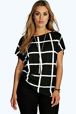 Plus Grid Print Oversize T-Shirt
