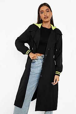 Neon Trim Belted Trench Coat