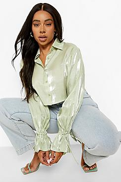 Plus Shimmer Satin Tie Cuff Blouse