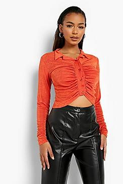 Acetate Slinky Button Down Top
