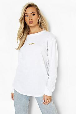 Thankful Embroidered Long Sleeve T-shirt
