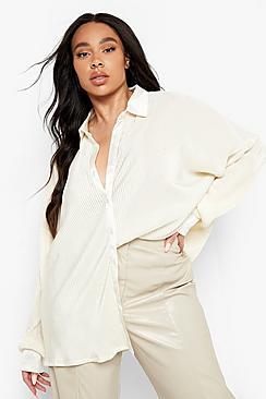 Plus Plisse Oversized Shirt
